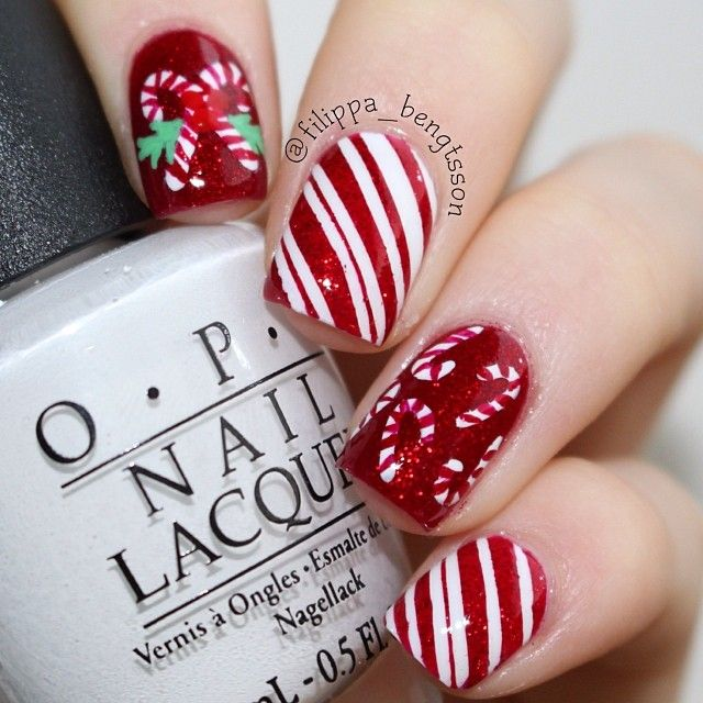 2014 Christmas candy cane nails with greenery - Red Paillette Glitter, Candy  Cane Nails for Girls - Best 25+ Candy Cane Nails Ideas On Pinterest Xmas Nails