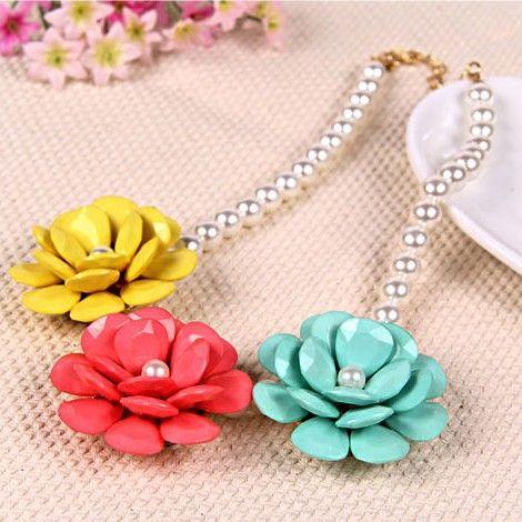Multi Colour Triple Flower Pendant Pearl Necklace $45