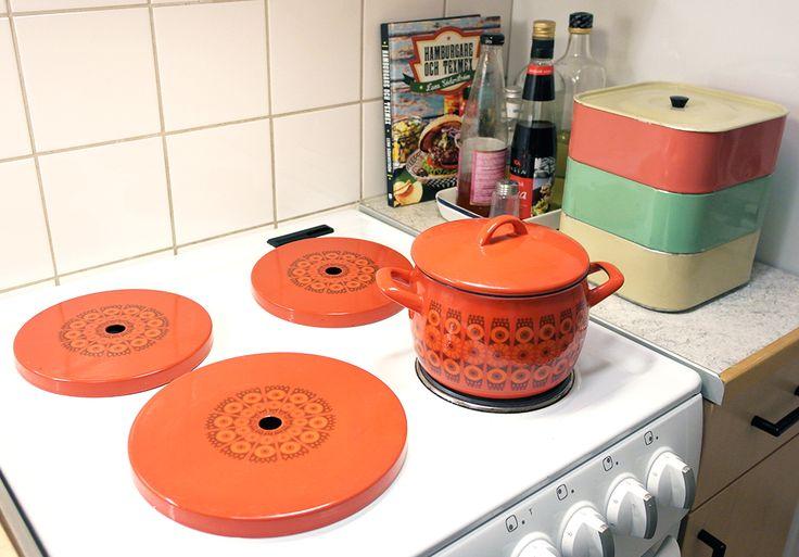 Retro interior design, stove, plates
