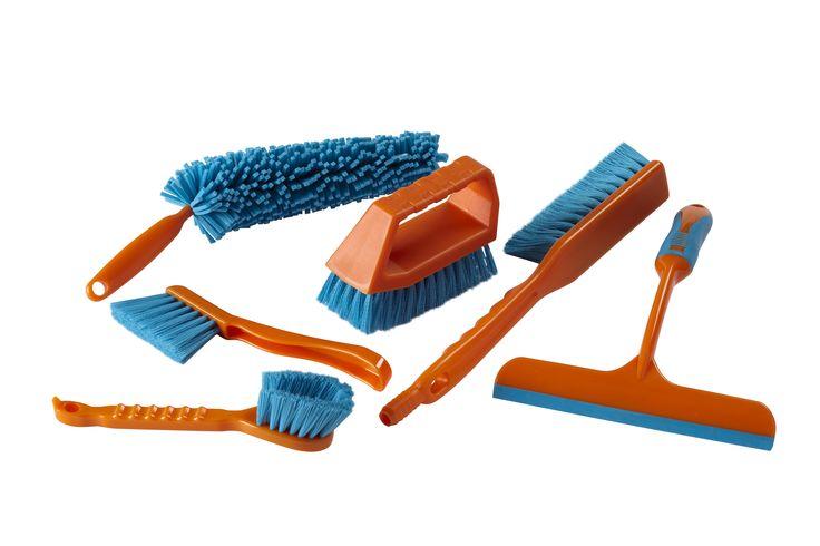 Car Cleaning gift set idea ft.  1. Window Cleaner 2. Wheel Brush 3. Interior Brush 4. Long Jet Brush  5. Tile Brush 6. Multi-purpose Cleaning Brush