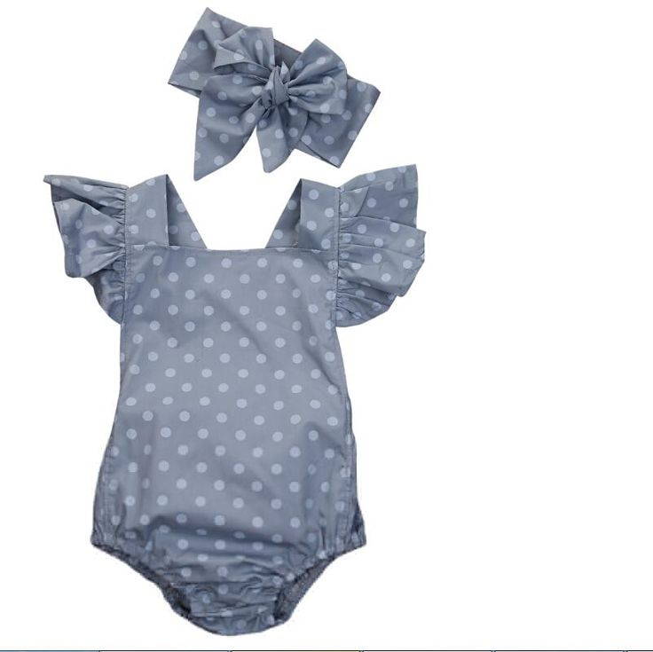 $7.99  Cute summer polka dot romper with matching band