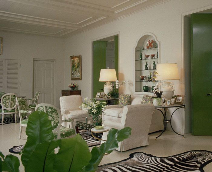 Florida Room With Green Lacquered Doors Black And White Accents