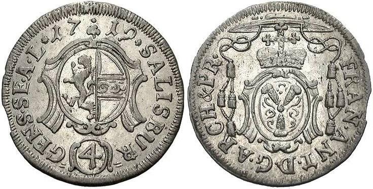 Coin, Salzburg (Independent Archbishopric), Franz Anton-Graf u. Fürst von Harrach (1709-1727), has the coat of arms on right