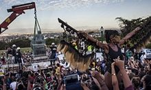 Cheers and protests as University of Cape Town removes Cecil Rhodes statue | World news | The Guardian