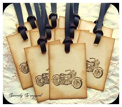 Biker Wedding Ideas | Motorcycle Favor Tags by Sweetly Scrapped Art}