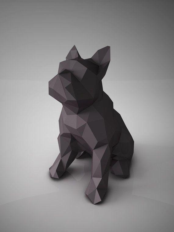 SCULPTURES en papier bricolage modèle Bulldog par ottockraft