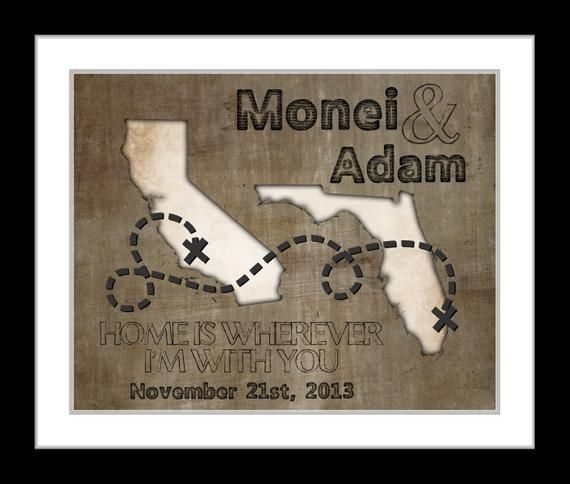 Going Away Present, Valentines day, For Boyfriend Girlfriend Couple Husband Wife Military To College Gift Quote US or World Map Print