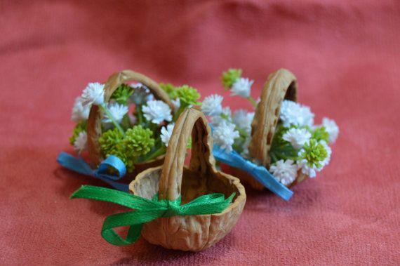 Fairy Basket  Miniature Basket from a walnut shell от JJLadells