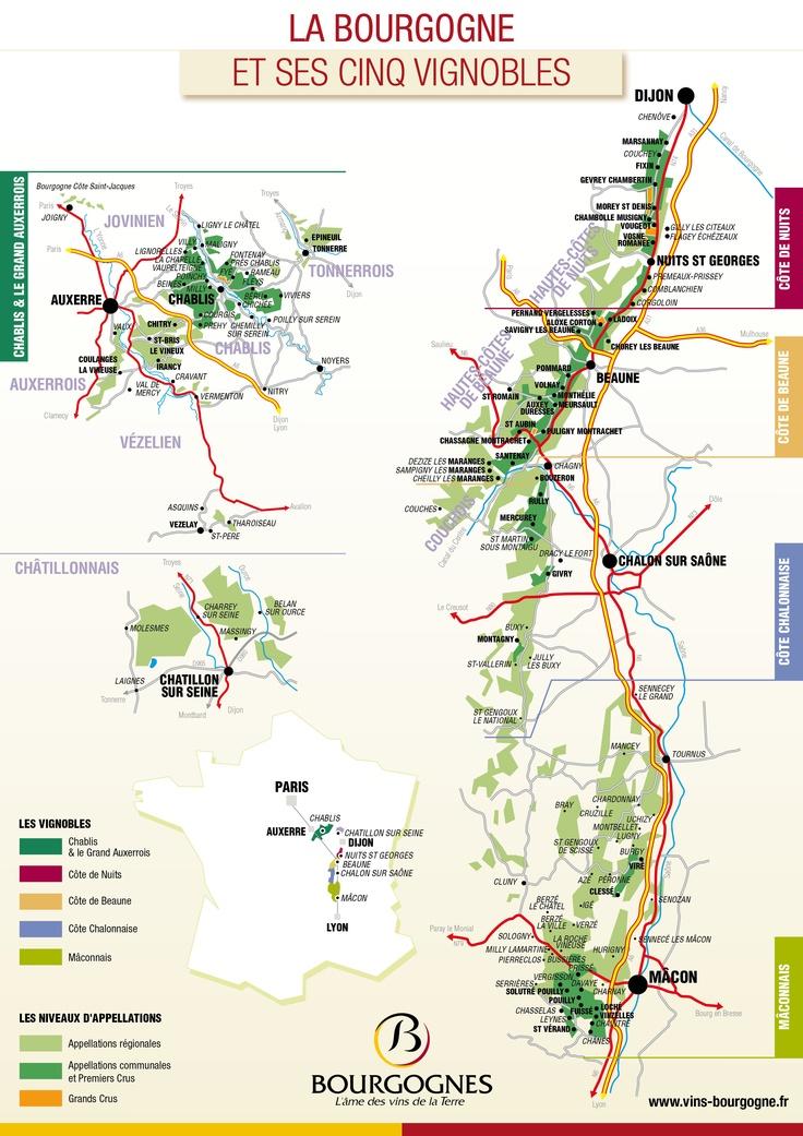 La carte des vignobles de Bourgogne