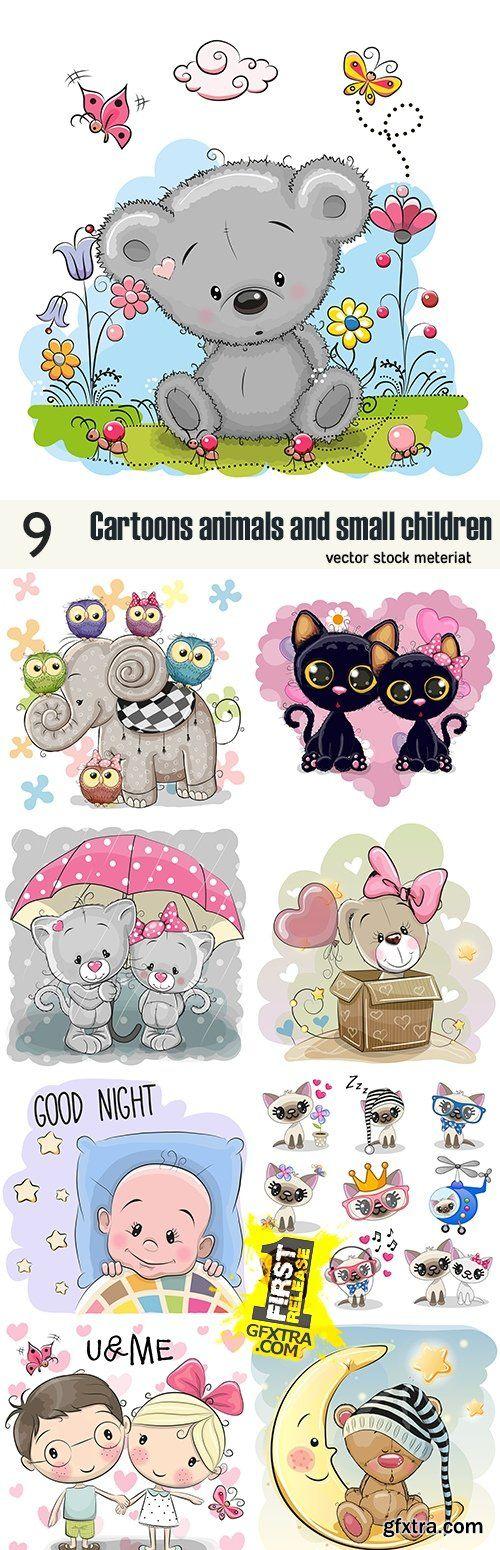 Cartoons animals and small children