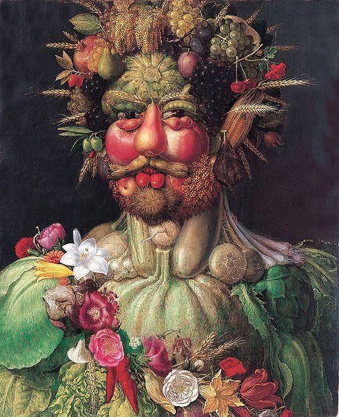 "'Vertumnus, a portrait of today"" Rudolf II, Holy Roman Emperor painted as Vertumnus, Roman God of the seasons, c. 1590-1. Giuseppe Arcimboldo."