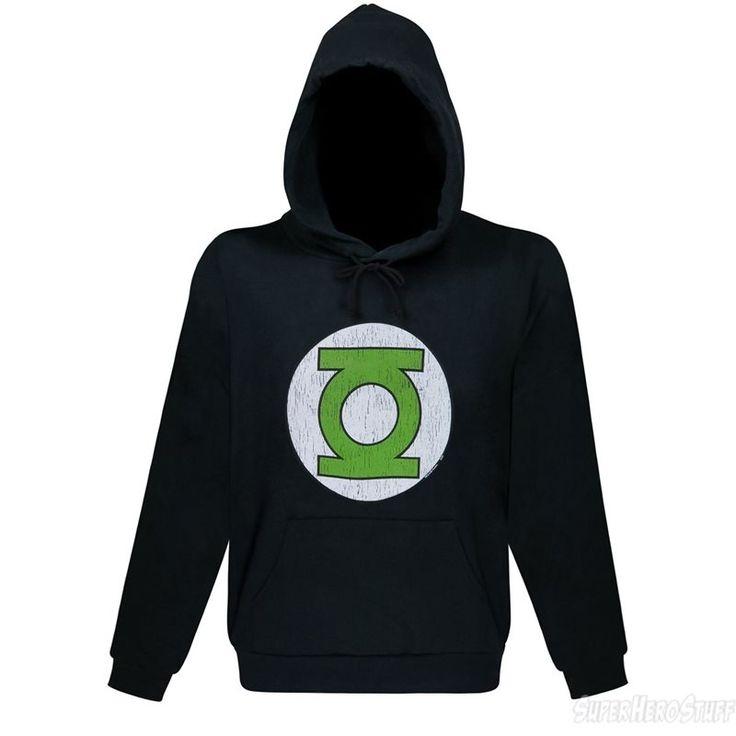 Green Lantern Distressed Symbol Black Hoodie