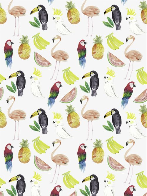 Whimsical tropical print with parrots and fruit.  I have a parrot bathroom, but the fruit would look weird in there.  So cute yhiugh