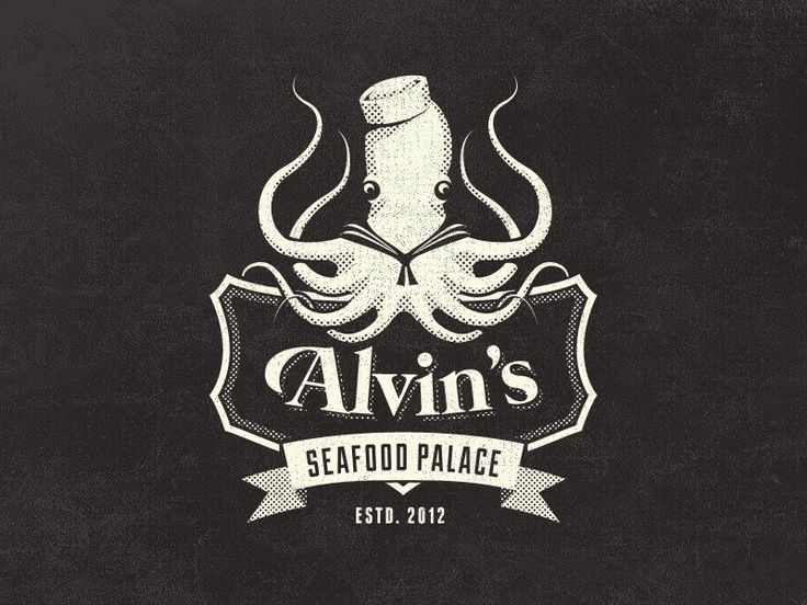 Dribbble - Alvin's Seafood Palace - Vintage Fantasy Logo Design by Mathias Temmen | #corporate #branding #creative #logo #personalized #identity #design #corporatedesign < repinned by www.BlickeDeeler.de | Have a look on www.LogoGestaltung-Hamburg.de