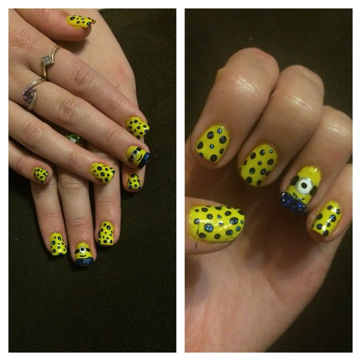 Two sets of minion nails, with diamonties :3