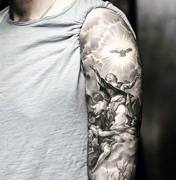Top 53 Catholic Tattoo Ideas 2020 Inspiration Guide Catholic Tattoos Guardian Angel Tattoo Designs Angel Sleeve Tattoo