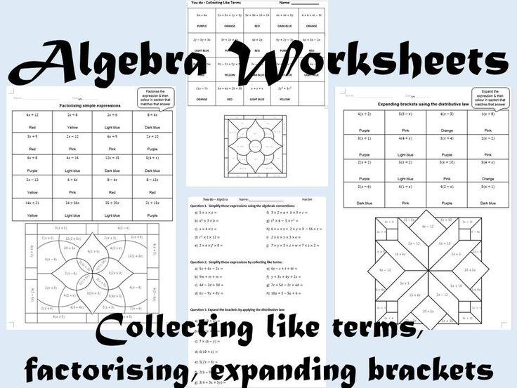 Algebra Colour By Number Bundle Teaching Resources Algebra Worksheets Algebra Like Terms