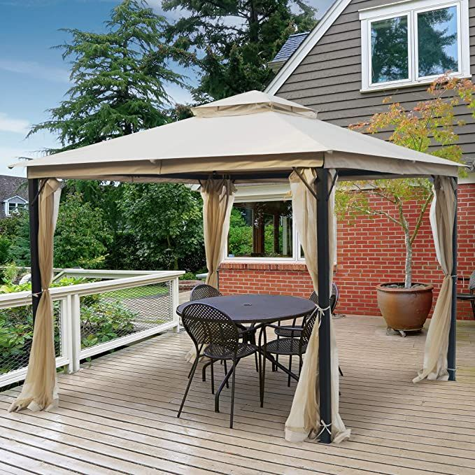 Amazon Com Asteroutdoor 10x10 Outdoor Patios Canopy For Shade And Rain With Mosquito Netting Soft Top Metal Frame Gazebo In 2020 Gazebo Outdoor Gazebos Patio Gazebo
