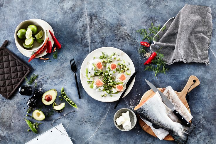 Seared Salmon with Spicy Pea and Avocado Salad and Creamy Apetina Dill Dressing