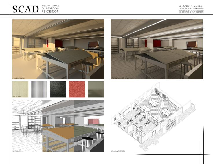Revit For Interior Design Class Final Rendering Composition