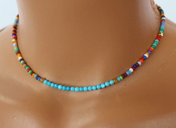 Turquoise and Seed Bead Choker Necklace || Colorful Beaded Necklace for Her