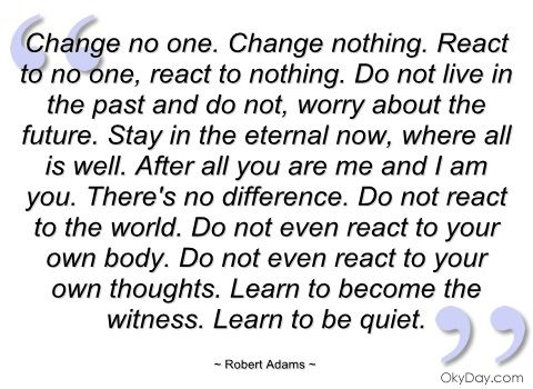 Change no one - Robert Adams - Quotes and sayings