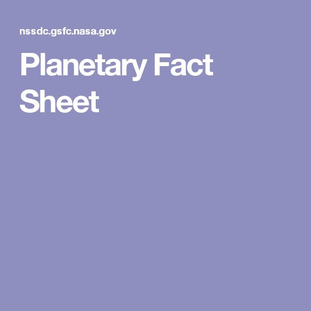 nasa planetary fact sheet - 640×640