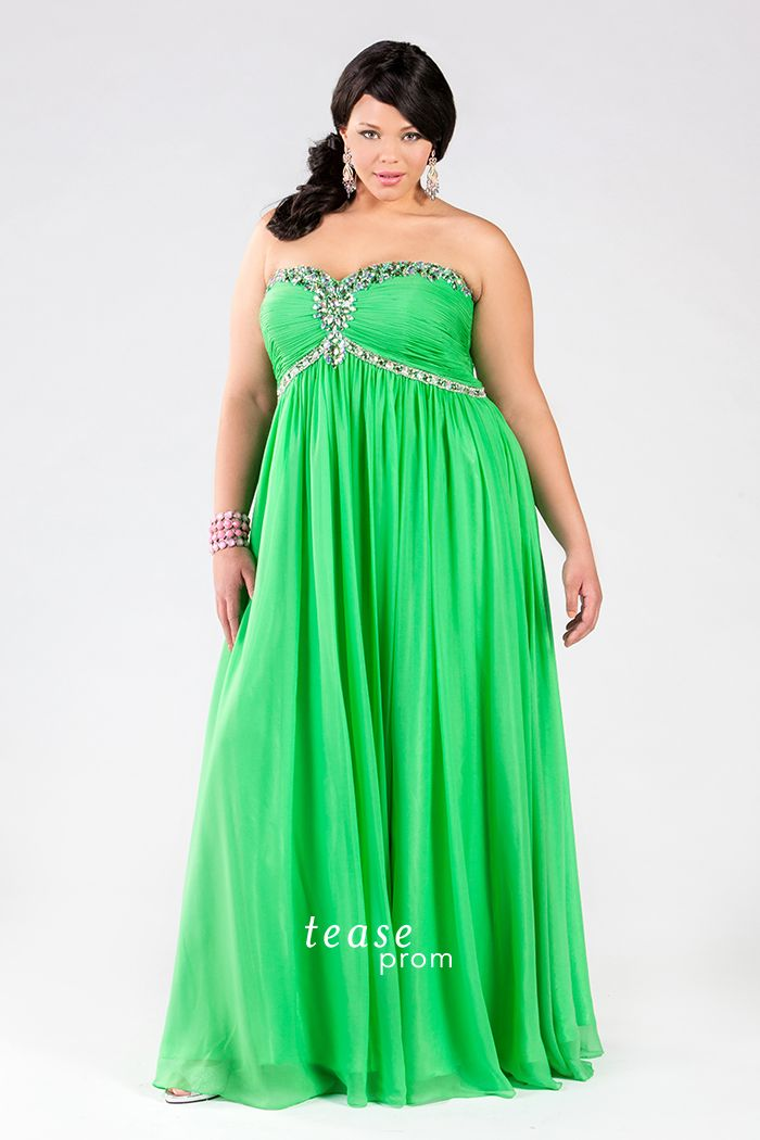 Strapless Lime #PlusSize #Dress. This gorgeous green gown really accents your curves. Perfect for Prom you'll love the electrifying look of this Sydney's Closet original. Sold Offline only, please check the store locator for a store near you!  http://www.teaseprom.com/plus-size-prom-dresses/2014-collection/