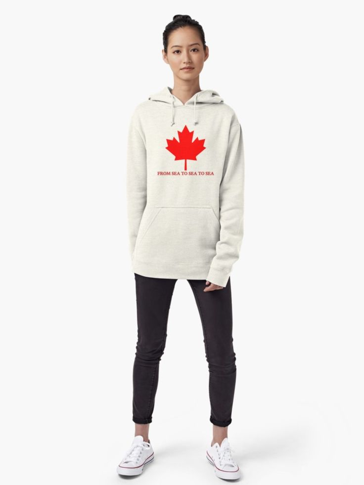"Canada From Sea to Sea To Sea Pullover Hoodies by Terrella.  The red Canadian Maple Leaf of the flag and the modern English version of the country's motto, ""From sea to sea to sea"". • Also buy this artwork on apparel, stickers, phone cases, and more."