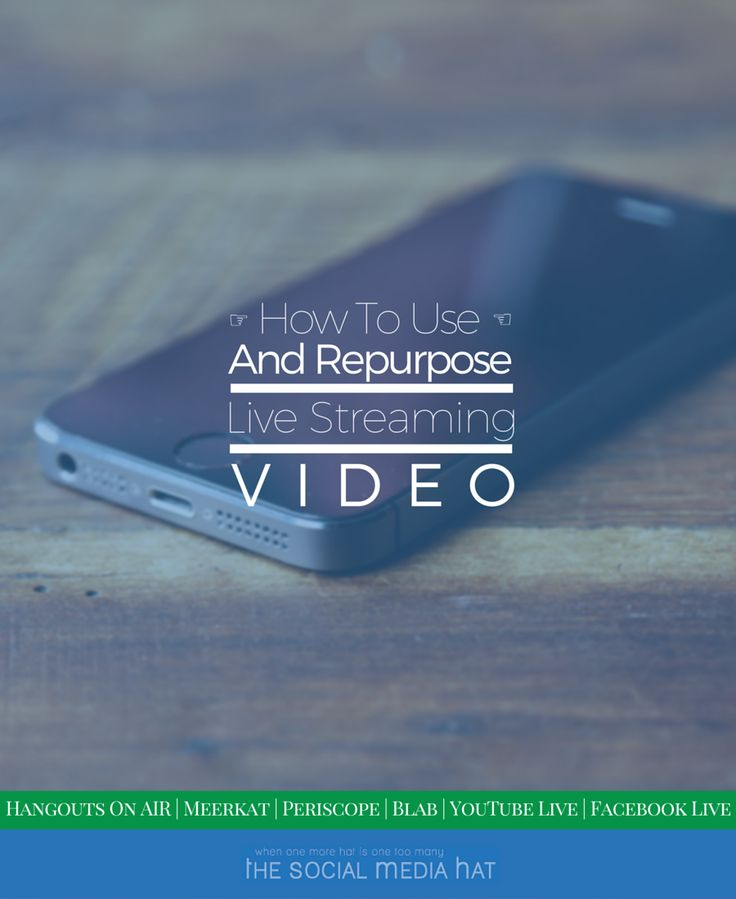 How to Use and Repurpose Live Video Streams | http://www.thesocialmediahat.com/article/how-use-and-repurpose-live-video-streams