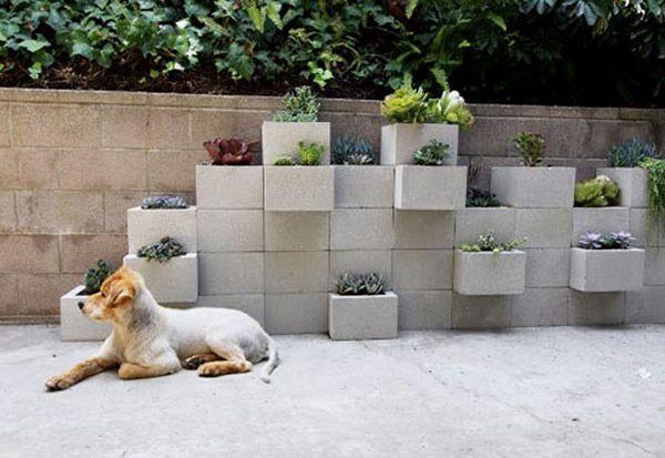 blumenkübel garten beton quadrate tetris idee
