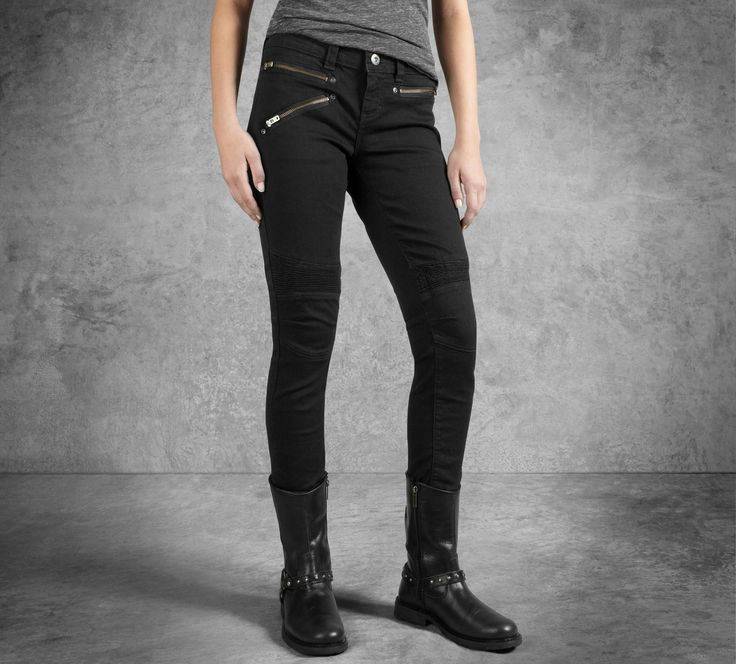 Zipper pockets and power-stretch knees infuse these women's jeans with an  undeniable track vibe. Boots or heels dress up our Skinny Moto Low-Rise  Jeans for ...