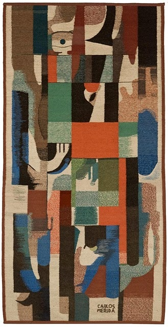 Cubist Carlos Merida, abstract tapestry, Carlos Mérida was a Guatemalan/Mexican artists who was one of the first to fuse European modern painting to Latin American themes. Carlos Mérida is best known for his canvas and mural works, most of which was done in Mexico. However, he also did engraving, set design and mosaic work.