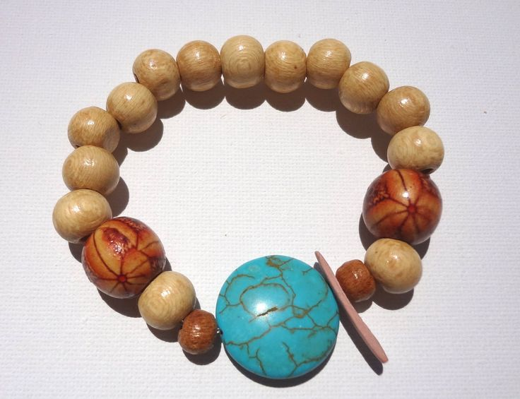 Women Beaded Bracelet Jewelry Natural Color Turquoise Stone Wooden Beads Boho Ethnic Style Summer Girl Fashion Handmade Handcrafted by ArtArgo on Etsy