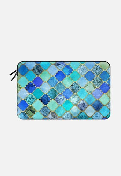Casetify Macbook Air 11 Macbook Sleeve - Cobalt Blue, Aqua & Gold Decorative Moroccan Tile Pattern  by Micklyn Le Feuvre #Casetify