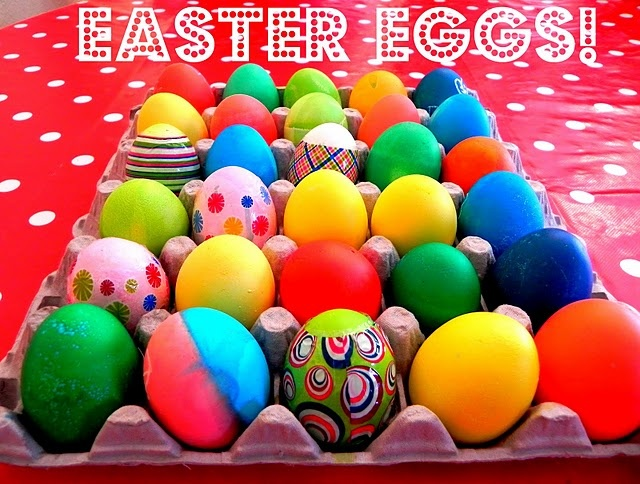 Dye Easter eggs with food coloring