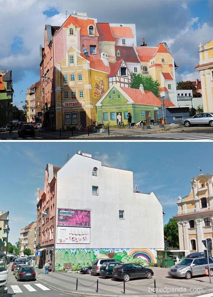 Невероятное преображение домов до и после того, как над ними поработали уличные художники