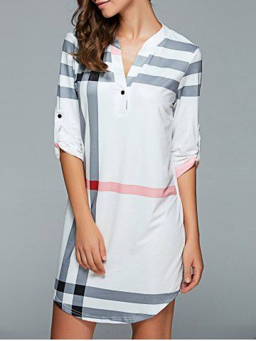 GET $50 NOW | Join RoseGal: Get YOUR $50 NOW!http://www.rosegal.com/casual-dresses/3-4-sleeve-plaid-shift-dress-708457.html?seid=2468344rg708457