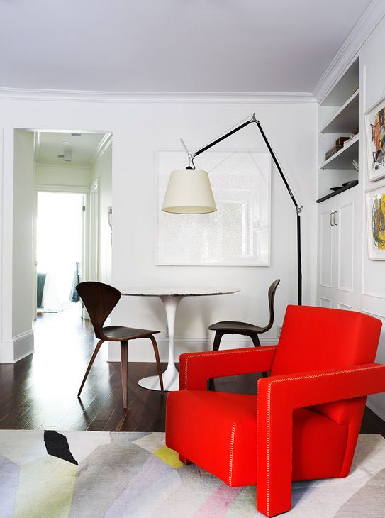 New York Apartment | Arent & Pyke. A bold, red chair.
