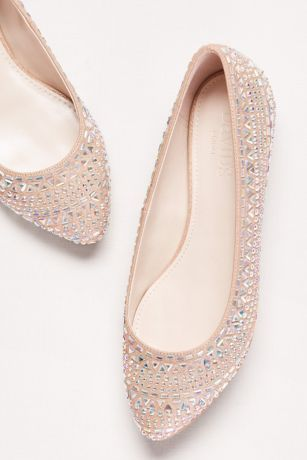 """This ultra-feminine flat glides from day to evening with allover tonal crystals.  By David's Bridal  Synthetic .5"""" hidden silver wedge Imported"""