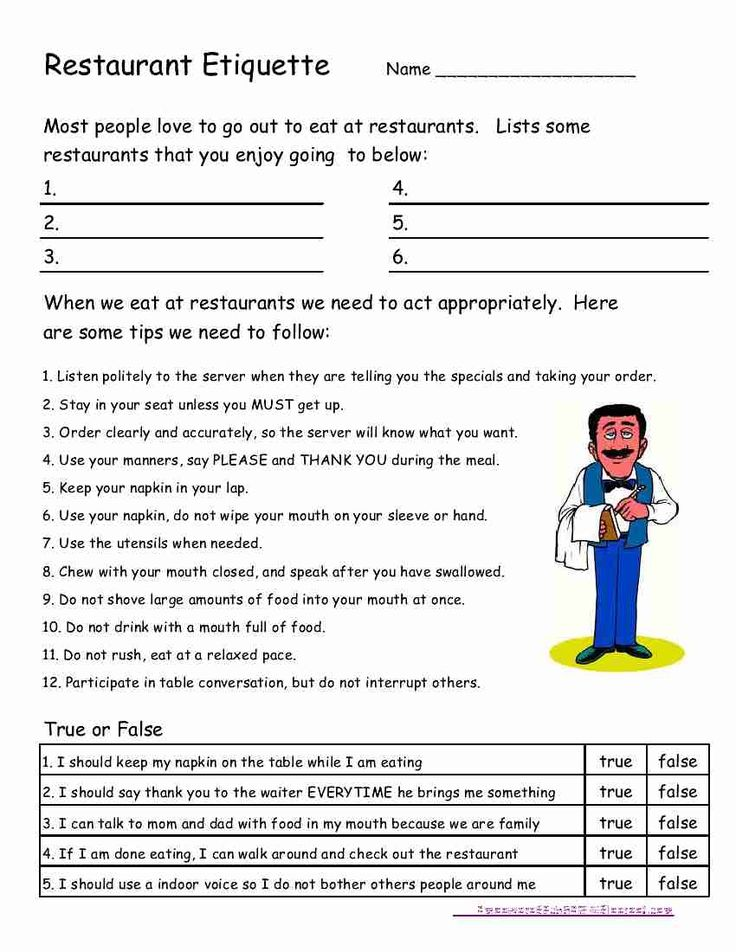 """Going to tailor for our family's use: """"Restaurant Etiquette for Kids Worksheet; practice polite etiquette at kid-friendly restaurants (great to-do for lunch) such as Chili's, Applebee's, Crackerbarrel and other family style dining establishments."""""""