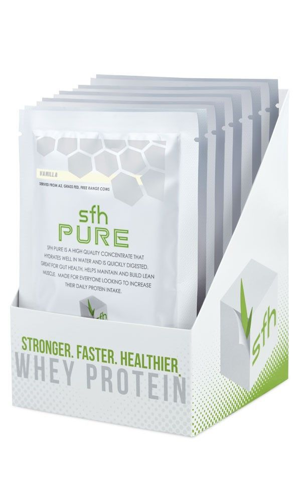 SFH Pure Whey Protein - Single Serving Size Whey Protein Powder Packets. Perfect for travel or taking to work.