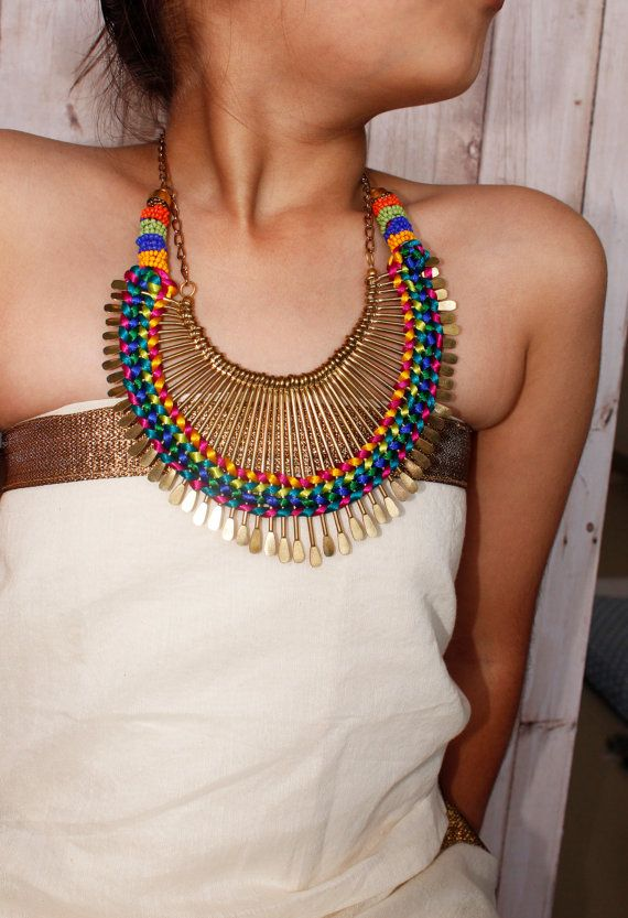 Beaded Necklace/ Chunky Necklace/ Beaded Jewelry/ Statement Necklace/ Bib Necklace/Multicolour Necklace/Bohemian Necklace/Spikes Necklace