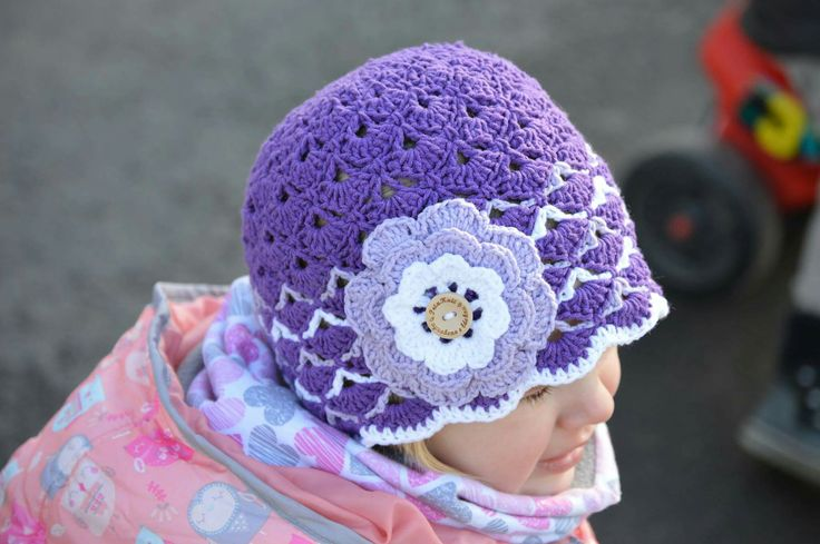Crochet spring hat for girls💜