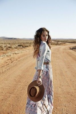 Spell and the Gypsy Collective Revolver Campaign | Shanina Shaik in Pandora Maxi Skirt