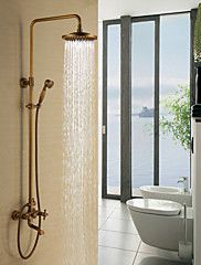 Antique+Brass+Tub+Shower+Faucet+with+8+inch+Shower+Head+++Hand+Shower+–+USD+$+302.97