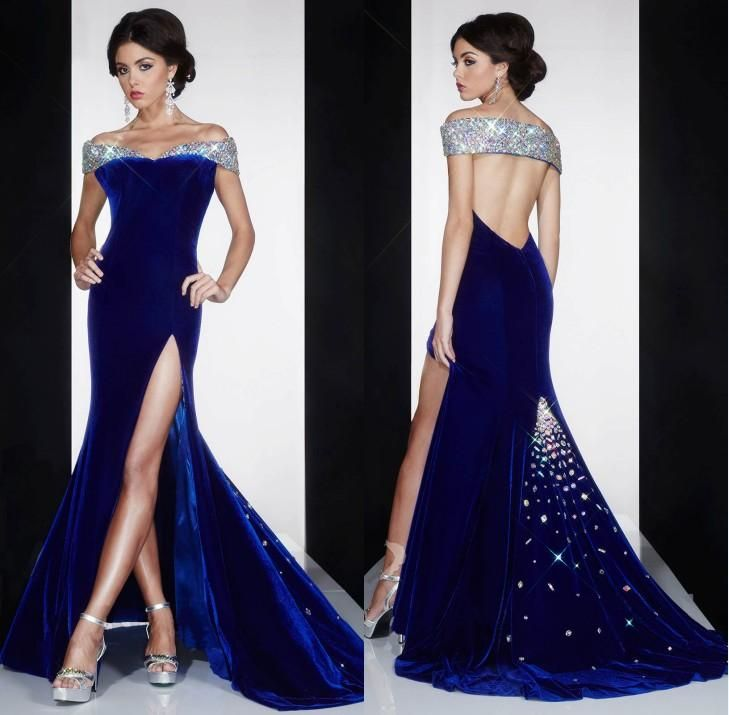 New Arrival 2016 Royal Blue Velvet Formal Evening Dresses Crystals Beaded Off The Shoulder Low Back Side Split Mermaid Prom Party Gowns Floor Length Evening Dresses Green Evening Dress From Dmronline, $125.43| Dhgate.Com