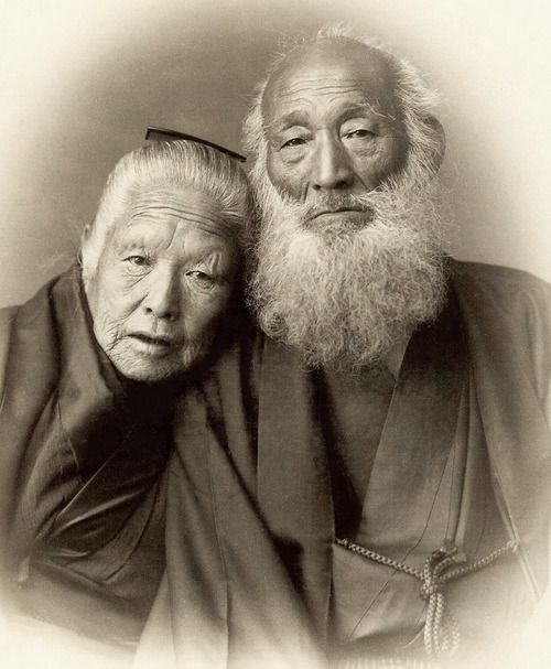 Portrait of an elderly couple in traditional kimono. Photo taken during…