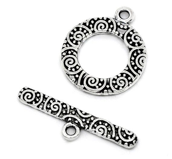 Silver Tone Engraved Toggle Clasp