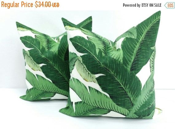 SALE PILLOW. PALM Pillow. Green Pillow by TwistedBobbinDesigns